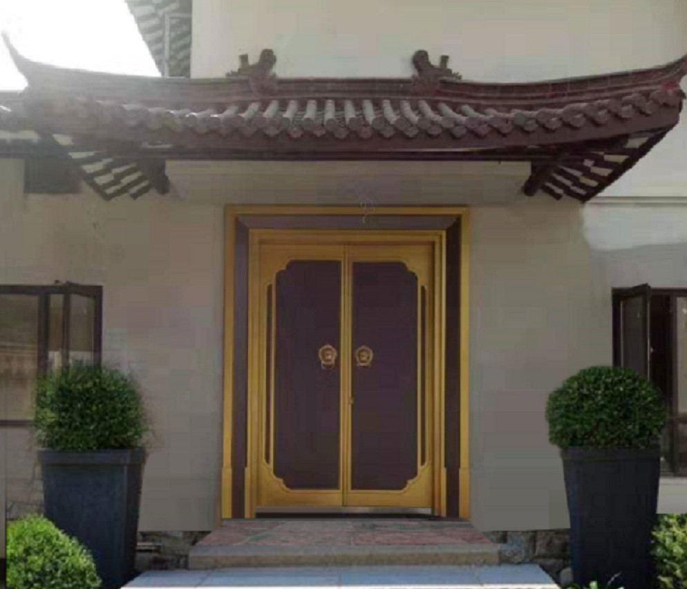 中式仿古铸铝别墅进户门,铸铝进户门,四合院大别墅安装